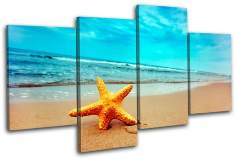 Beach Starfish Seascape Bathroom - 13-2223(00B)-MP04-LO